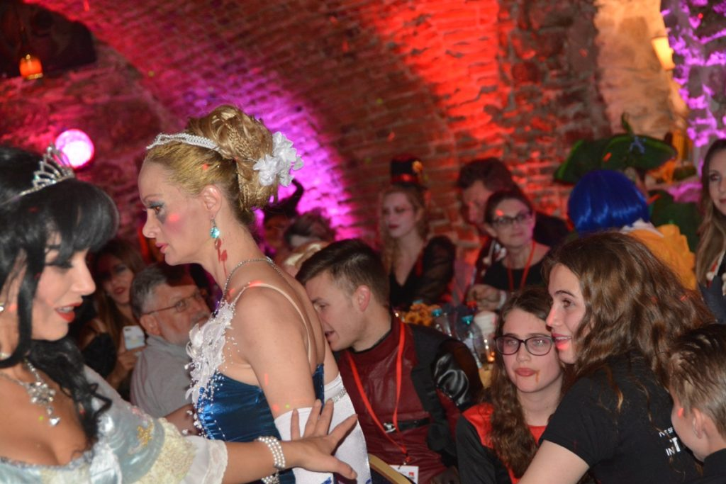 Vampire hunting show at best Halloween party in Transylvania