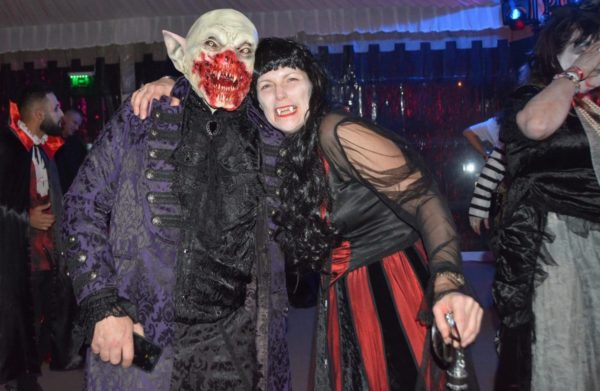British tourists at the best Halloween party in Transylvania, Sighisoara Citadel Romania